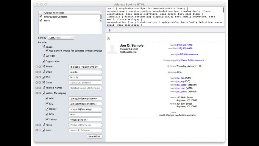 Address Book to HTML for Mac - review, screenshots
