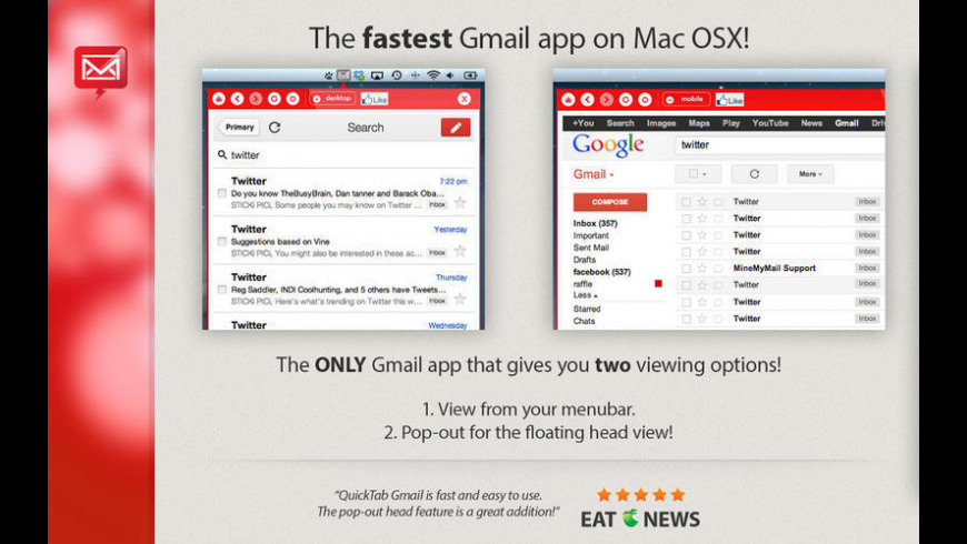 App for Gmail - Pro for Mac - review, screenshots