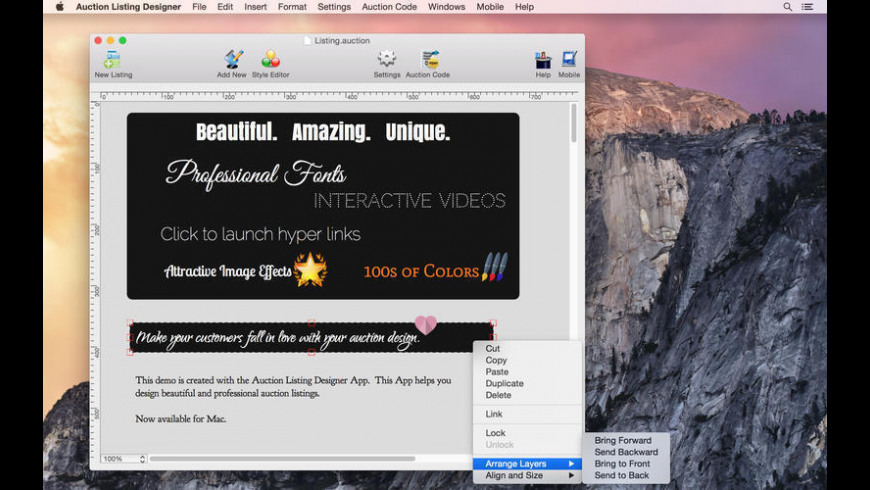 Auction Listing Designer for Mac - review, screenshots