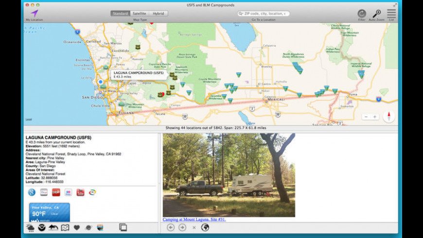 USFS and BLM Campgrounds for Mac - review, screenshots