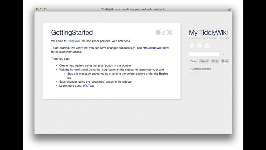 TiddlyDesktop for Mac - review, screenshots