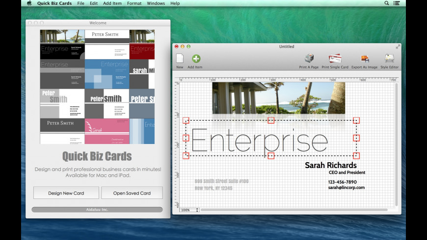 Quick Biz Cards for Mac - review, screenshots