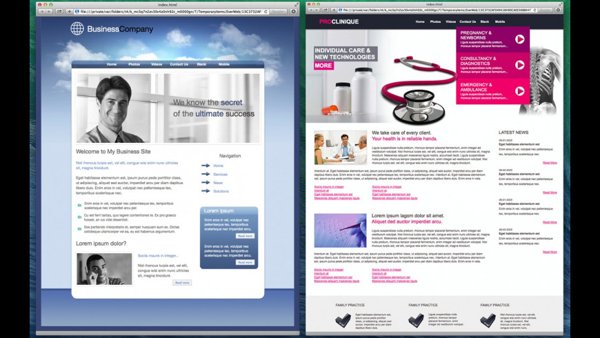 Templates for EverWeb for Mac - review, screenshots