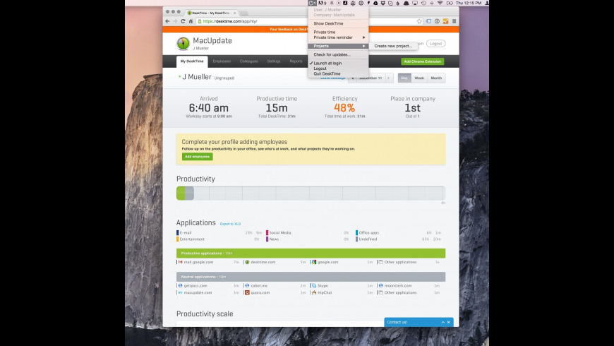 Desktime for Mac - review, screenshots