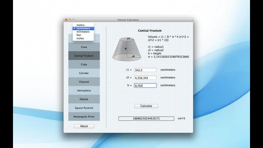 Volume Calculator for Mac - review, screenshots