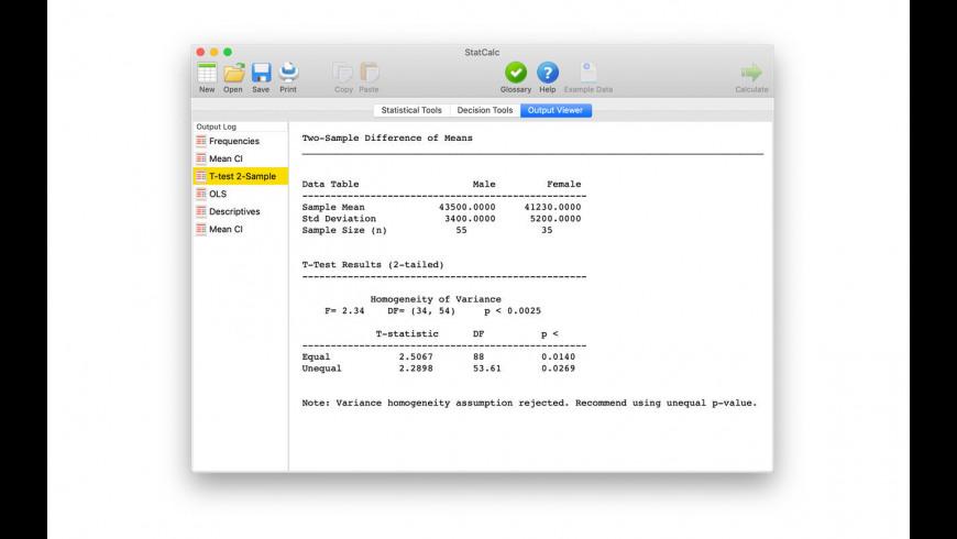 StatCalc for Mac - review, screenshots