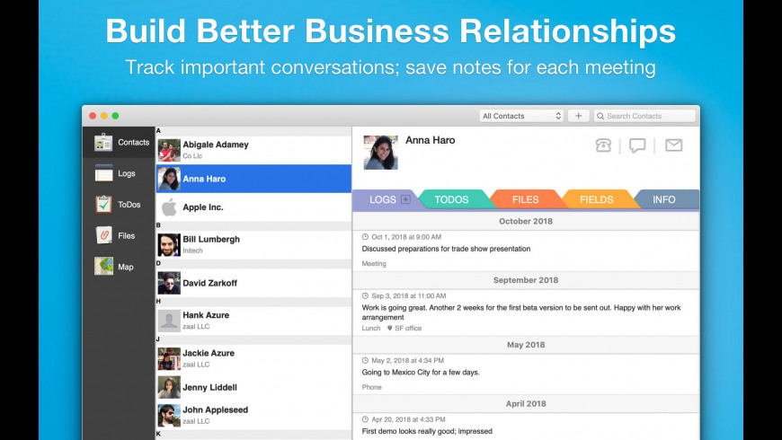 Contacts Journal CRM for Mac - review, screenshots