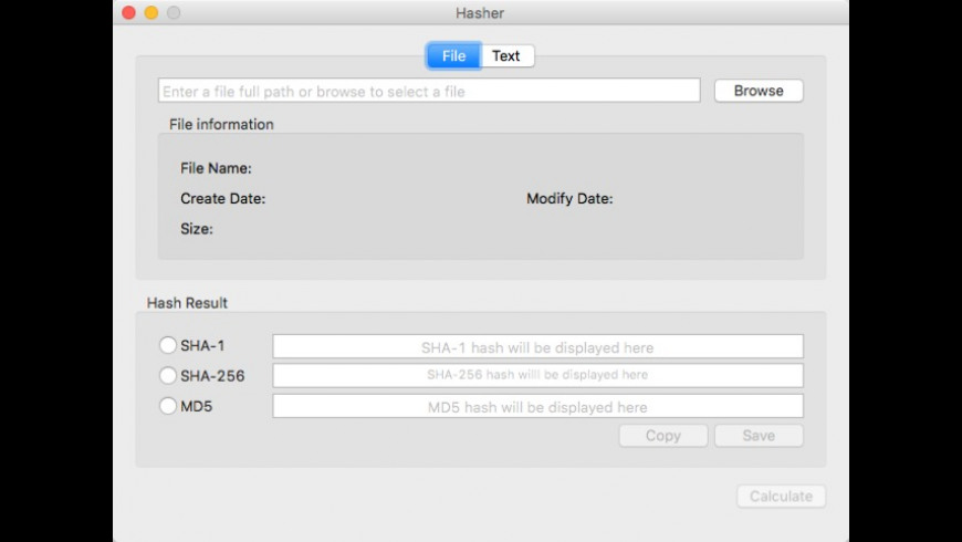 Hasher Tool for Mac - review, screenshots