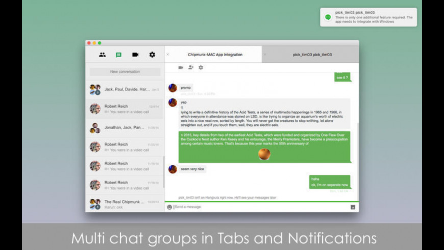 Chatty for Google Hangouts for Mac - review, screenshots