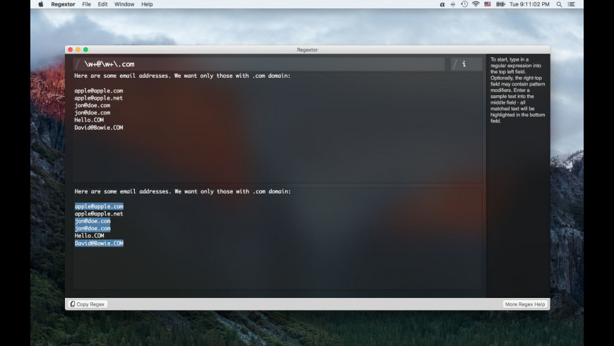 Regextor for Mac - review, screenshots