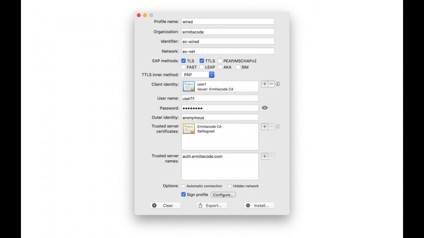 Dot1xProfile for Mac - review, screenshots