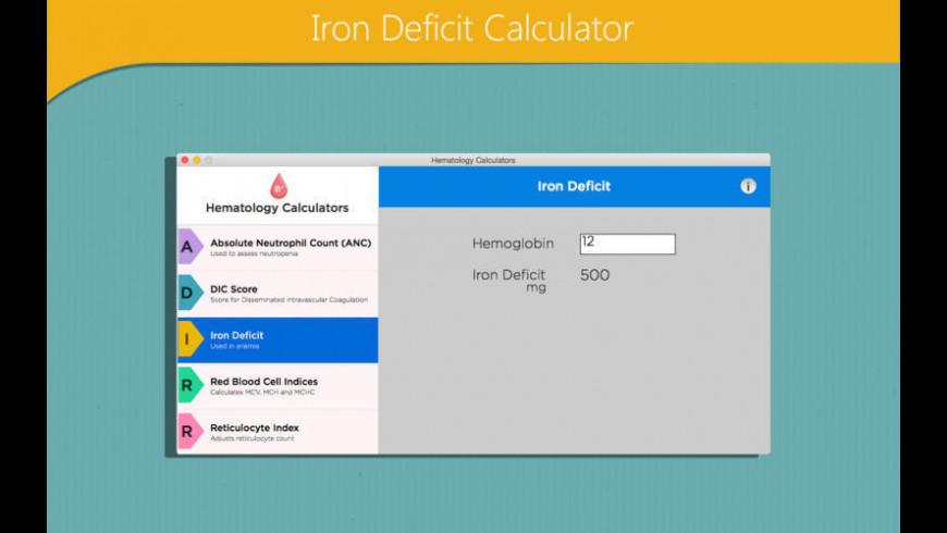 Hematology Calculators for Mac - review, screenshots