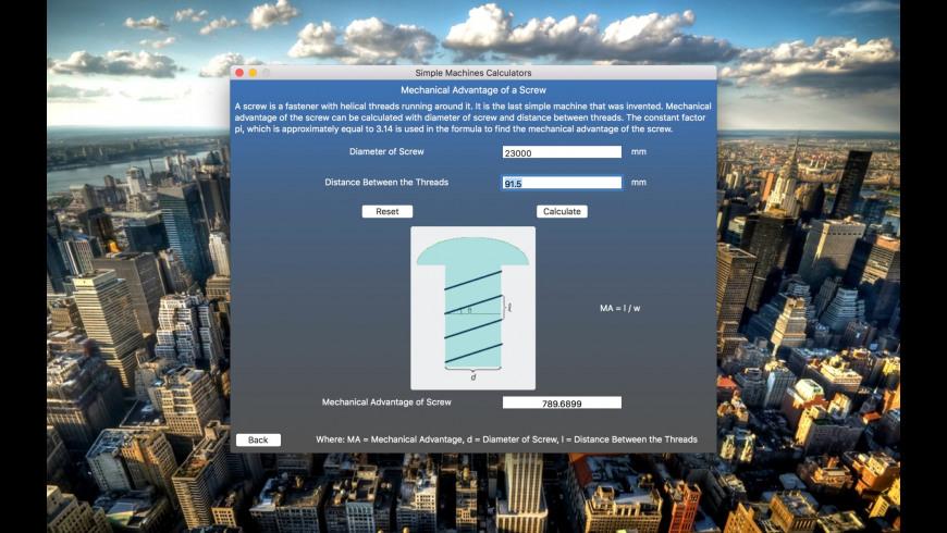Simple Machines Calculators for Mac - review, screenshots
