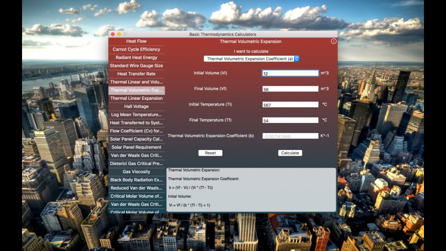 Basic Thermodynamics Calculators for Mac - review, screenshots