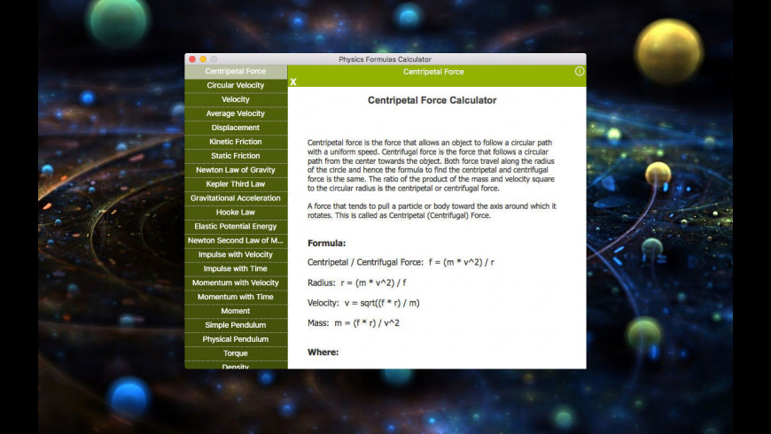 Physics Formulas Calculator for Mac - review, screenshots