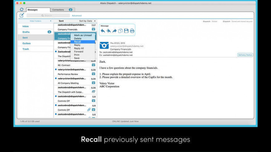 Absio Dispatch for Mac - review, screenshots