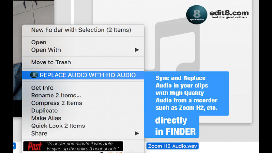 Sync'N'Replace Bad Audio for Mac - review, screenshots