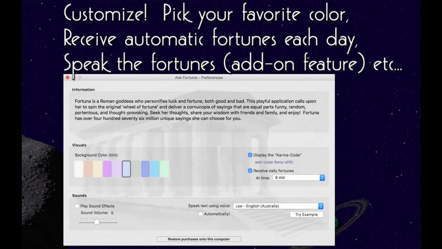 Ask Fortuna for Mac - review, screenshots