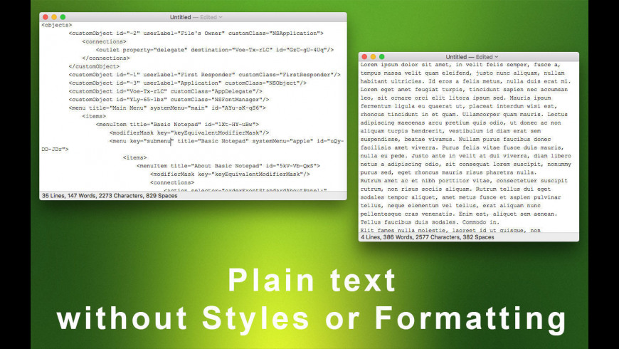 Basic Notepad for Mac - review, screenshots
