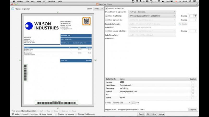 EasyTag CloudPrinter for Mac - review, screenshots