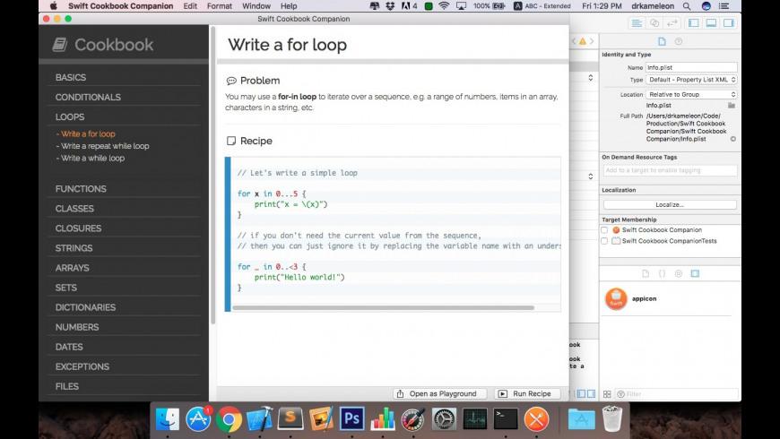 Swift Cookbook Companion for Mac - review, screenshots