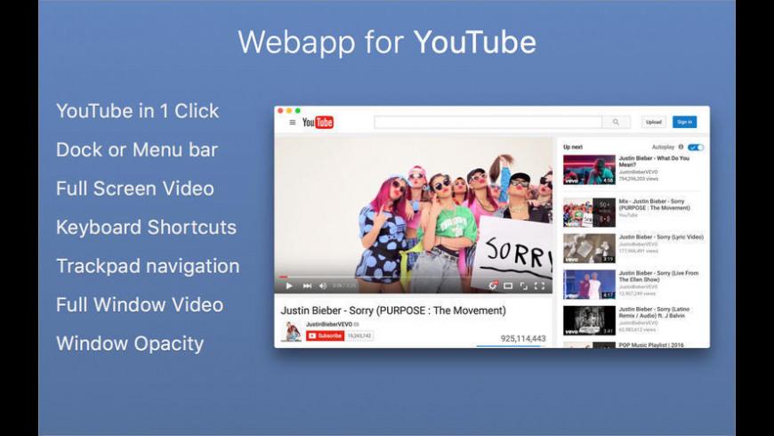 Webapp for YouTube for Mac - review, screenshots
