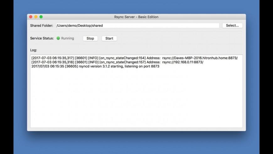 Rsync Server - Basic Edition for Mac - review, screenshots
