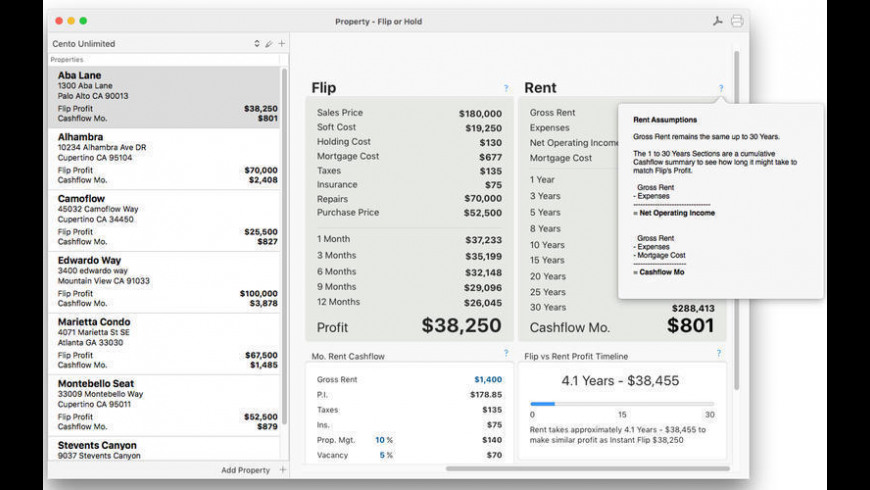 Property Flip or Hold for Mac - review, screenshots