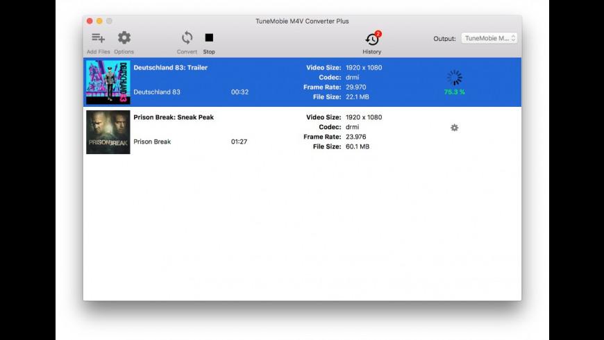 TuneMobie M4V Converter Plus for Mac - review, screenshots