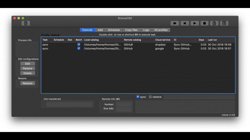 RcloneOSX for Mac - review, screenshots