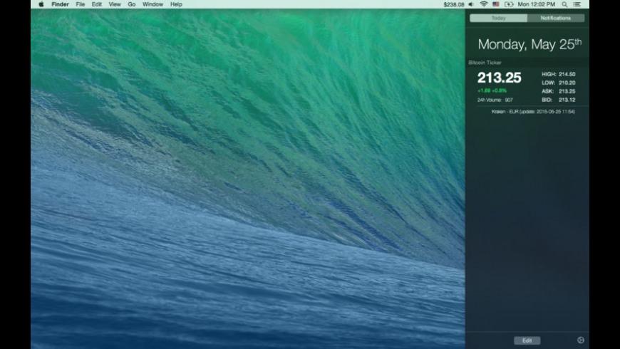 Bitcoin Ticker Widget for Mac - review, screenshots