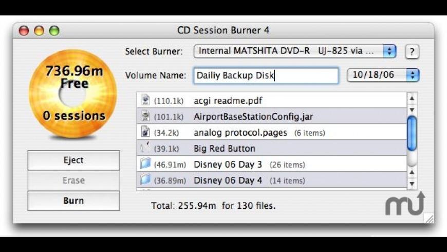 CD Session Burner for Mac - review, screenshots